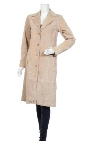 Дамско кожено палто, Размер S, Цвят Бежов, Естествен велур, Цена 18,69лв.