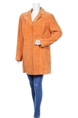 Дамско кожено яке, Размер XL, Цвят Оранжев, Естествен велур, Цена 40,64лв.