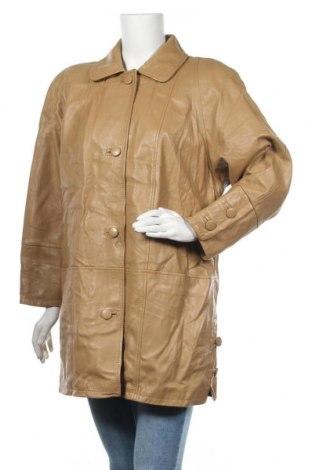 Дамско кожено яке, Размер L, Цвят Бежов, Естествена кожа, Цена 70,09лв.