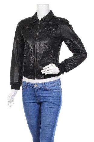 Дамско кожено яке, Размер XS, Цвят Черен, Естествена кожа, Цена 62,16лв.