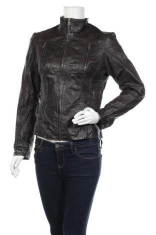 Дамско кожено яке, Размер M, Цвят Кафяв, Еко кожа, Цена 28,73лв.
