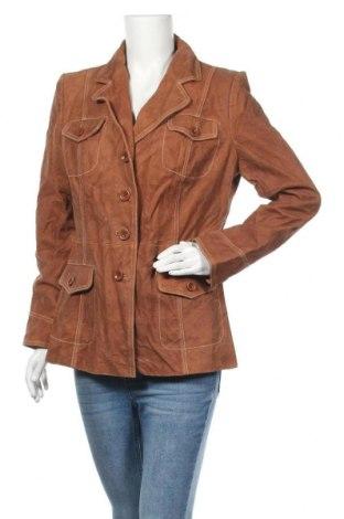 Дамско кожено яке, Размер XL, Цвят Бежов, Естествен велур, Цена 75,81лв.