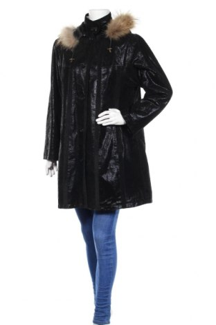 Дамско кожено палто, Размер M, Цвят Черен, Естествена кожа, естествен косъм, Цена 72,03лв.