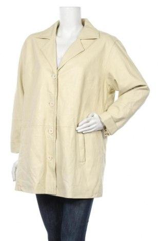 Дамско кожено яке, Размер L, Цвят Екрю, Естествена кожа, Цена 60,69лв.