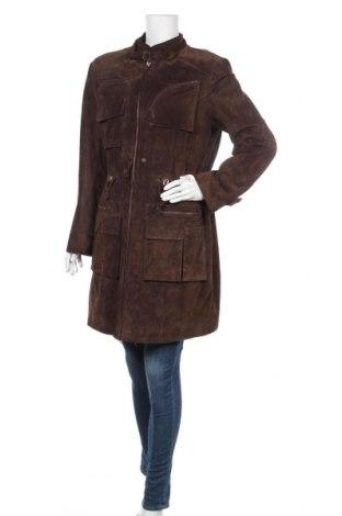 Дамско кожено яке, Размер M, Цвят Кафяв, Естествен велур, Цена 45,05лв.