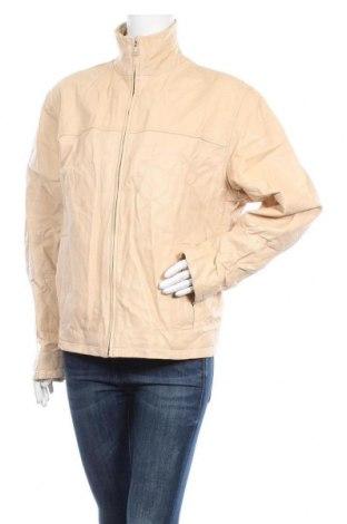 Дамско кожено яке, Размер XXL, Цвят Бежов, Естествена кожа, Цена 64,26лв.