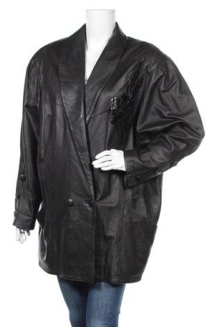 Дамско кожено яке, Размер XL, Цвят Черен, Естествена кожа, Цена 18,59лв.