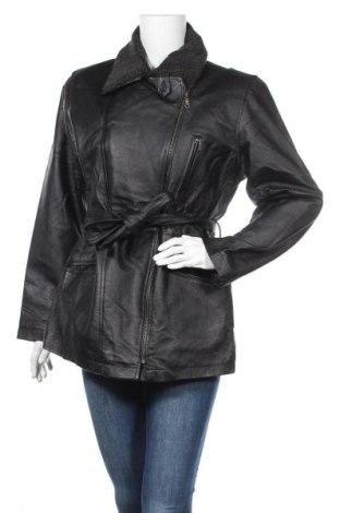 Дамско кожено яке, Размер L, Цвят Черен, Естествена кожа, Цена 71,82лв.