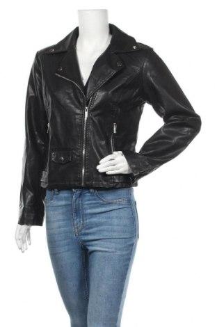 Дамско кожено яке, Размер L, Цвят Черен, Еко кожа, Цена 53,55лв.