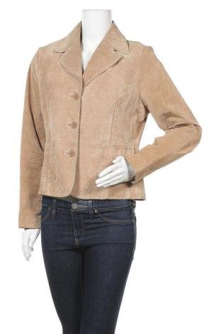Дамско кожено яке, Размер L, Цвят Бежов, Естествена кожа, Цена 15,50лв.