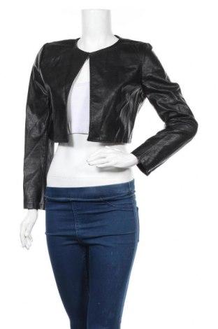 Дамско кожено яке, Размер S, Цвят Черен, Еко кожа, Цена 11,34лв.