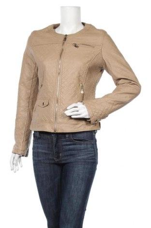 Дамско кожено яке, Размер L, Цвят Бежов, Еко кожа, Цена 32,13лв.