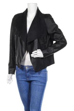 Дамско кожено яке, Размер L, Цвят Черен, Еко кожа, Цена 35,91лв.