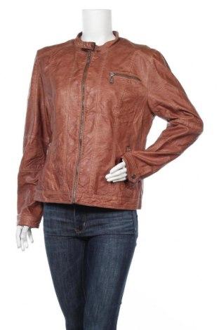 Дамско кожено яке, Размер XL, Цвят Кафяв, Еко кожа, Цена 33,60лв.