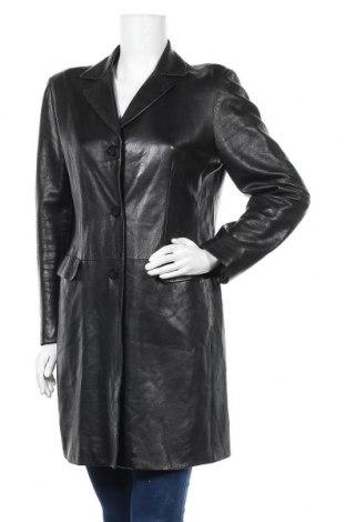 Дамско кожено палто, Размер L, Цвят Черен, Естествена кожа, Цена 93,45лв.