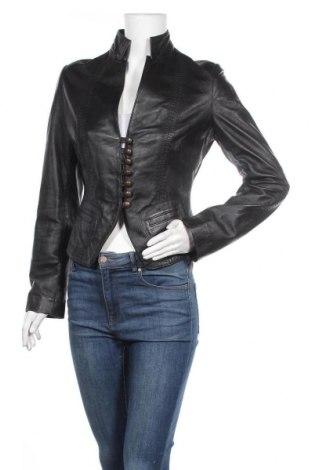Дамско кожено яке, Размер M, Цвят Черен, Естествена кожа, Цена 66,40лв.