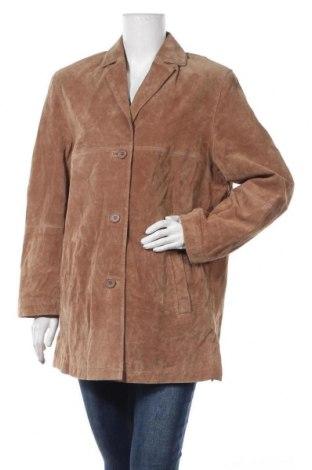 Дамско кожено яке Boysen's, Размер XL, Цвят Бежов, Естествен велур, Цена 55,34лв.