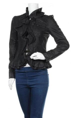 Дамско кожено яке Caroline K Morgan, Размер S, Цвят Черен, Еко кожа, Цена 31,94лв.