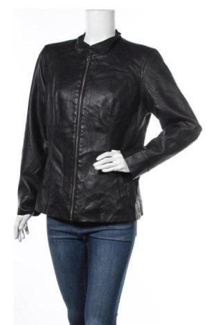 Дамско кожено яке Christopher & Banks, Размер L, Цвят Черен, Еко кожа, Цена 40,64лв.