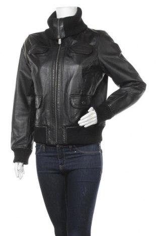 Дамско кожено яке East Village, Размер M, Цвят Черен, Естествена кожа, Цена 48,42лв.