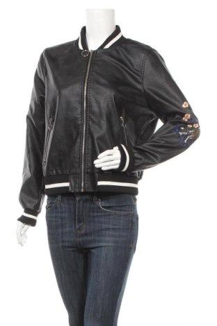 Дамско кожено яке Fb Sister, Размер XL, Цвят Черен, Еко кожа, Цена 28,56лв.