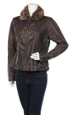 Дамско кожено яке Gina, Размер XL, Цвят Кафяв, Еко кожа, Цена 36,75лв.