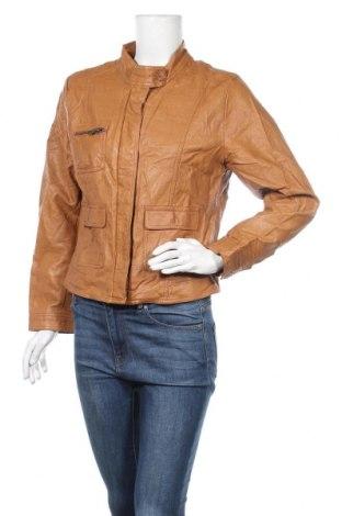 Дамско кожено яке H&M, Размер XL, Цвят Кафяв, Еко кожа, Цена 30,71лв.