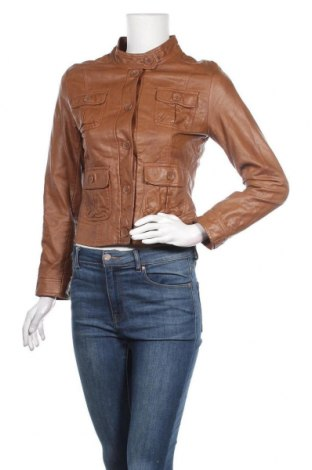 Дамско кожено яке H&M, Размер S, Цвят Кафяв, Еко кожа, Цена 33,60лв.