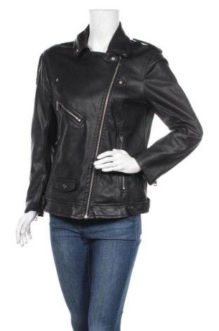 Дамско кожено яке H&M, Размер M, Цвят Черен, Еко кожа, Цена 32,55лв.