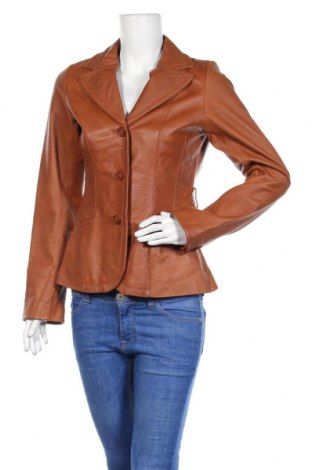 Дамско кожено яке H&M, Размер M, Цвят Кафяв, Естествена кожа, Цена 20,48лв.