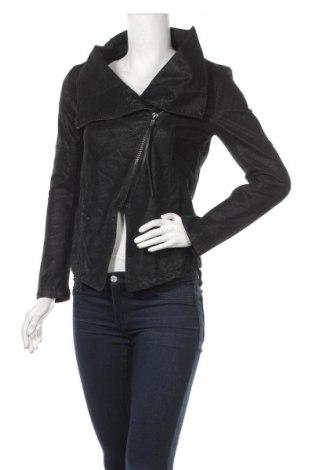 Дамско кожено яке H&M Divided, Размер S, Цвят Черен, Еко кожа, Цена 44,46лв.