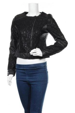 Дамско кожено яке Laura Torelli, Размер S, Цвят Черен, Еко кожа, Цена 35,91лв.