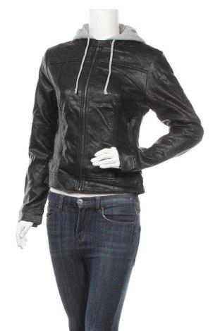 Дамско кожено яке Laura Torelli, Размер M, Цвят Черен, Еко кожа, памук, полиестер, Цена 28,67лв.