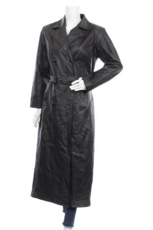 Дамски кожен шлифер Morena, Размер S, Цвят Черен, Естествена кожа, Цена 65,42лв.