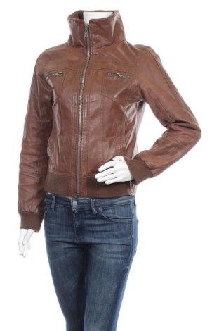 Дамско кожено яке ONLY, Размер M, Цвят Кафяв, Естествена кожа, Цена 24,57лв.