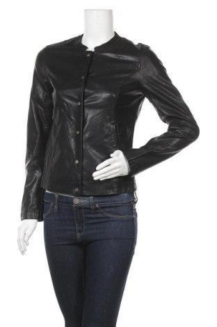 Дамско кожено яке Promod, Размер S, Цвят Черен, Еко кожа, Цена 35,91лв.