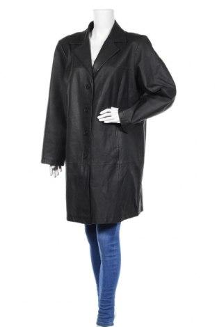 Дамски кожен шлифер Ulla Popken, Размер XL, Цвят Черен, Естествена кожа, Цена 75,60лв.