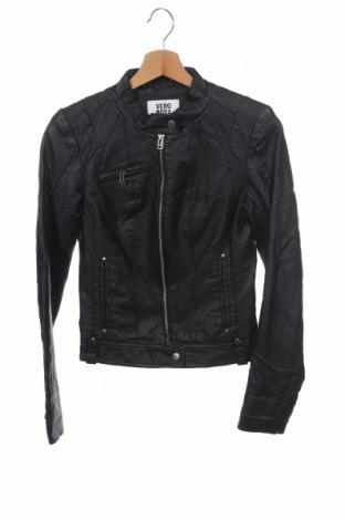 Дамско кожено яке Vero Moda, Размер XS, Цвят Черен, Еко кожа, Цена 34,44лв.