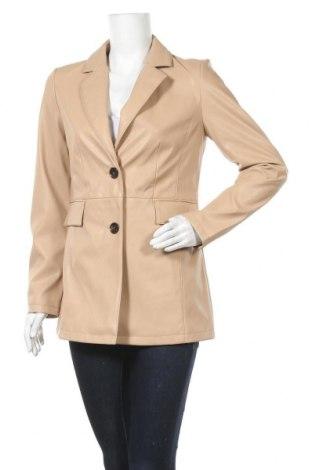 Дамско кожено яке Vero Moda, Размер M, Цвят Бежов, Еко кожа, Цена 45,82лв.