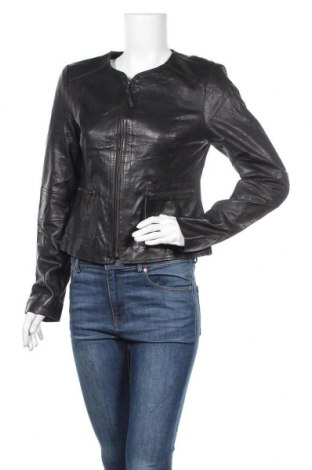 Дамско кожено яке Woman By Tchibo, Размер L, Цвят Черен, Естествена кожа, Цена 66,89лв.