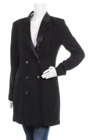 Дамско палто Bershka, Размер L, Цвят Черен, Полиестер, Цена 13,86лв.