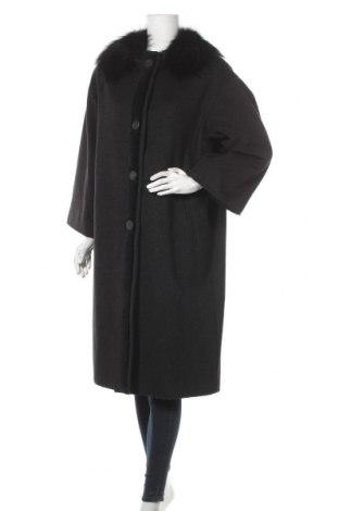 Дамско палто Lanvin, Размер L, Цвят Черен, Вълна, естествен косъм, Цена 263,70лв.