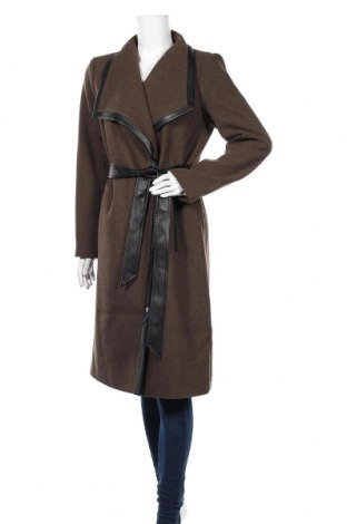 Дамско палто Vila, Размер M, Цвят Кафяв, Вълна, полиестер, еко кожа, Цена 71,52лв.