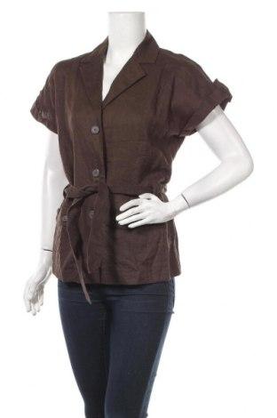 Дамско сако Anne L., Размер S, Цвят Кафяв, Лен, Цена 6,83лв.