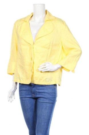Γυναικείο σακάκι G.W., Μέγεθος XL, Χρώμα Κίτρινο, Λινό, Τιμή 9,55€