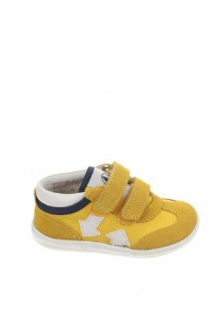 Παιδικά παπούτσια Naturino, Μέγεθος 21, Χρώμα Κίτρινο, Φυσικό σουέτ, κλωστοϋφαντουργικά προϊόντα, Τιμή 46,54€
