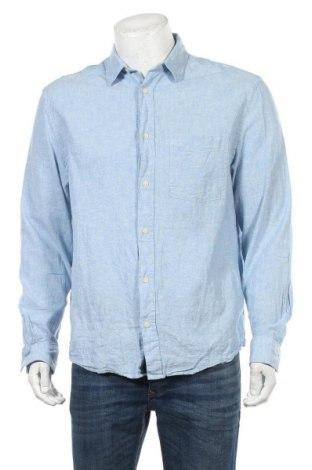 Мъжка риза H&M L.O.G.G., Размер L, Цвят Син, 70% памук, 30% лен, Цена 6,62лв.