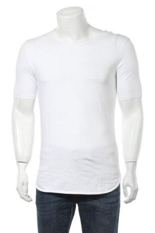 Ανδρικό t-shirt Bershka, Μέγεθος S, Χρώμα Λευκό, 95% βαμβάκι, 5% ελαστάνη, Τιμή 12,06€