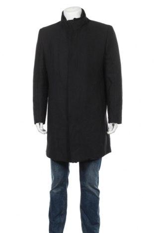 Мъжко палто Zara, Размер XL, Цвят Черен, 64% полиестер, 20% памук, 13% вълна, 2% вискоза, 1% други материали, Цена 84,27лв.
