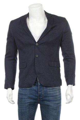 Pánské sako  H&M, Velikost M, Barva Modrá, 63% len, 37% bavlna, Cena  194,00Kč